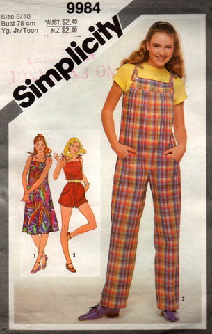 simplicity 9984 girls dress and dungarees 80s