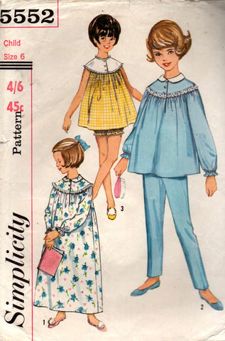 simplicity 5552 60s girls sleepwear