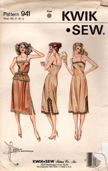 3a9523aa0db97 Kwik Sew 941 Womens Full and Half Slips & Camisole 70s Vintage Sewing  Pattern Size XS - S - M - L UNCUT Factory Folds