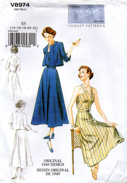 Vogue V8974 Sundress Jacket & Belt Sewing Pattern 1940s Reissue Repro Size 6 - 14 or 14 - 22 UNCUT Factory Folded