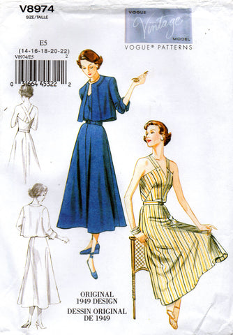 Vogue V8974 Sundress Jacket & Belt Sewing Pattern 1940s Reissue Repro Size 14 - 22 UNCUT Factory Folded