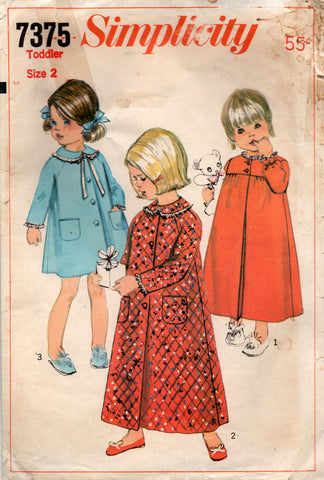 simplicity 7375 60s toddlers robe and nightgown