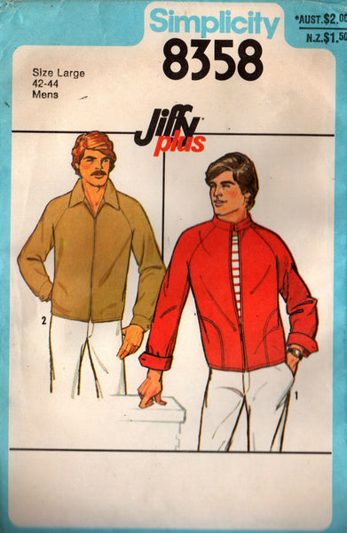 Simplicity 8358 Mens EASY Raglan Sleeved Jacket Windcheater 70s Vintage Sewing Pattern Size LARGE Chest 42 - 44 inches