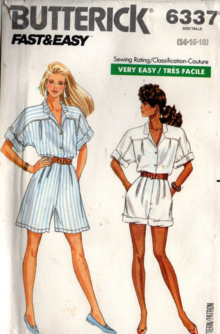 butterick 6337 shirt and shorts 80s