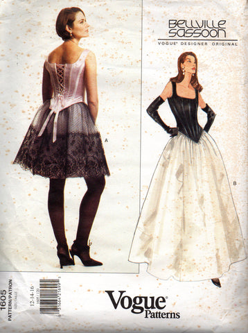 vogue 1605 bellville sassoon corset top and skirt 90s