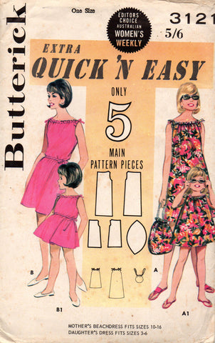 Butterick 3121 mother and daughter shift and beach bag 60s