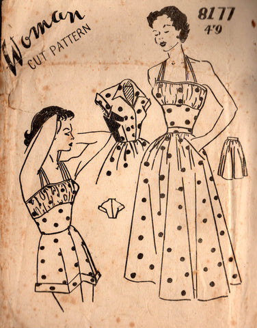 Woman 8177 Womens Playsuit / Swimsuit Skirt & Bolero 1940s Vintage Sewing Pattern Bust 34 Inches