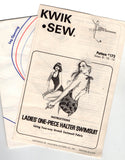 Kwik Sew 173 Womens Halter Swimsuit 70s Vintage Sewing Pattern Bust 34 - 37 Inches UNCUT Factory Folds