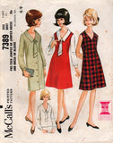 McCall's 7389 pre teen dress jumper blouse 60s