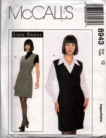 1763b7bb074 McCall s 8943 LIDA BADAY Womens Sleeveless Jumper Dress   Blouse OOP 90s  Sewing Pattern Size 12 Bust 34 inches UNCUT Factory Folded