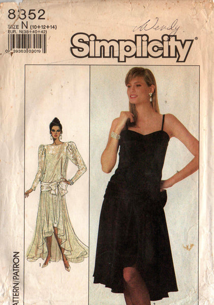 Simplicity 8352 waterfall hem dress