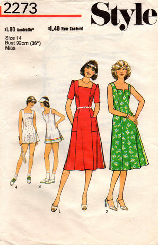 Style 2273 Womens Dress or Tennis Dress 70s Vintage Sewing Pattern Size 14 Bust 36 inches
