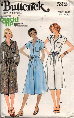 Butterick 5924 70s shirtdress