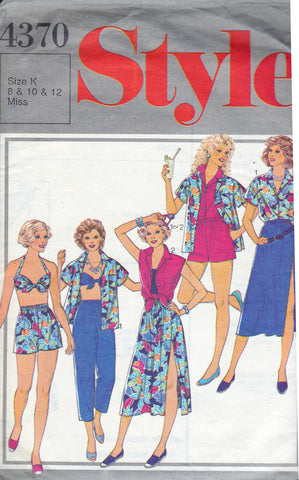 Style 4370 Womens Summer Separates Blouse Skirt Pants Shorts   Bikini Top  80s Vintage Sewing Pattern Size 8 - 12 UNCUT Factory Folds f1e31bc37