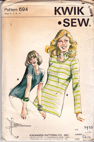 Kwik Sew 694 Womens Short or Long Sleeved T Shirts 70s Vintage Sewing Pattern Bust 31 - 36 inches UNCUT Factory Folds