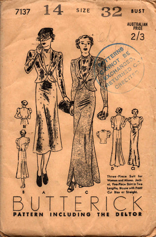 Butterick 7137 1930s suit