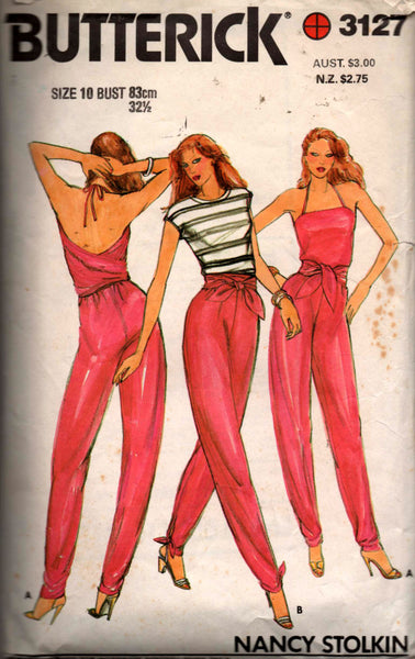 Butterick 3127 NANCY STOLKIN Womens Stretch Halter Wrap Convertible Jumpsuit 1980s Vintage Sewing Pattern Size 8 or 10