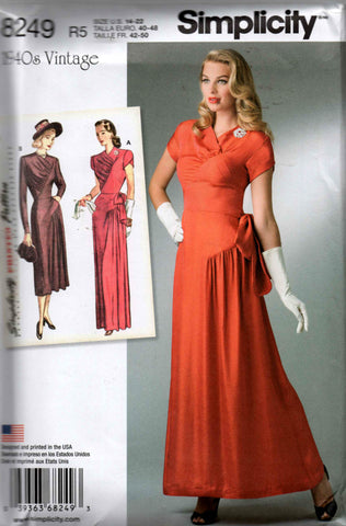 Simplicity 8249 Repro 40s Petal Sleeved Draped Evening Dress Pattern Size 6 8 10 12 14 or 14 16 18 20 22 UNCUT Factory Folds