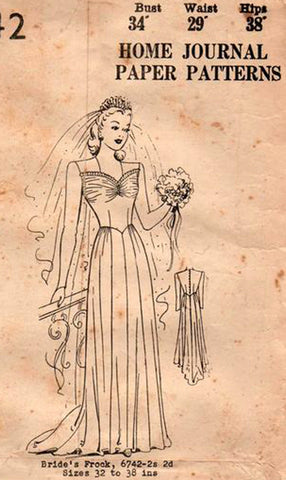 Australian Home Journal 6742 Womens Wedding Dress Bridal / Bridesmaids Gown 1940s Vintage Sewing Pattern Bust 34 inches