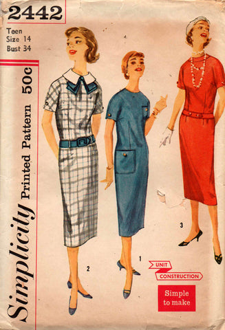Simplicity 2442 Womens Sheath Dress With Neckline & Belt Variations 50s Vintage Sewing Pattern Size 14 Bust 34 inches UNCUT Factory Folded
