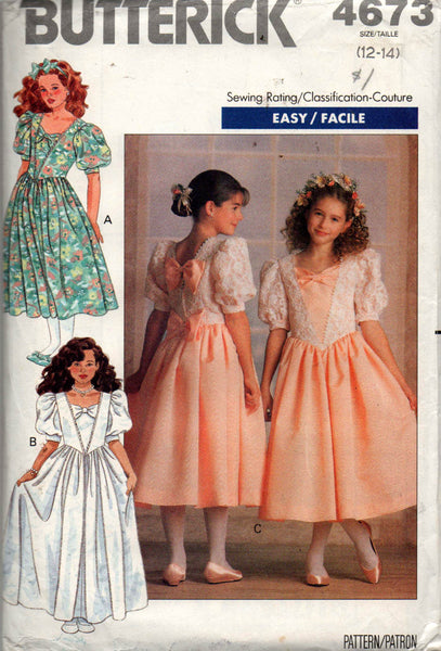 butterick 4673  girls flower girl dress