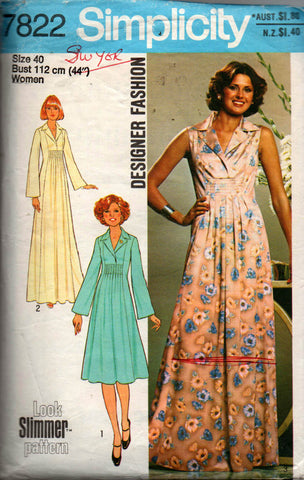 4eed7d13b47 Simplicity 7822 Womens PLUS SIZE Designer Caftan Dress or Maxi 70s Vintage  Sewing Pattern Size 40 Bust 44 inches
