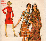 Style 3507 Womens Maxi or Regular Length Shirtdress 70s Vintage Sewing Pattern Size 12 Bust 34 inches