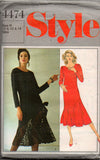 Style 4474 Womens Asymmetric Flounced Hem Evening Dress 80s Vintage Sewing Pattern Size 10 12 14
