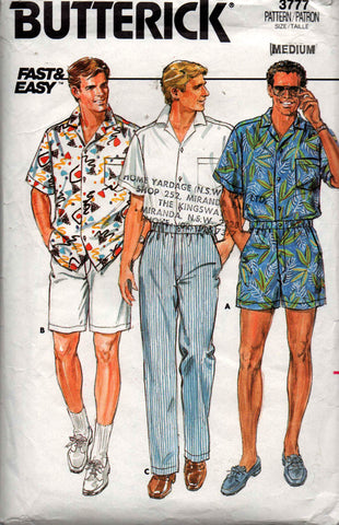 butterick 3777 mens shorts shirt pants