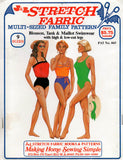 J & L Stretch Fabric Womens One Piece Swimsuits 1980s Vintage Sewing Pattern Sizes 6 - 22 UNCUT Factory Folded
