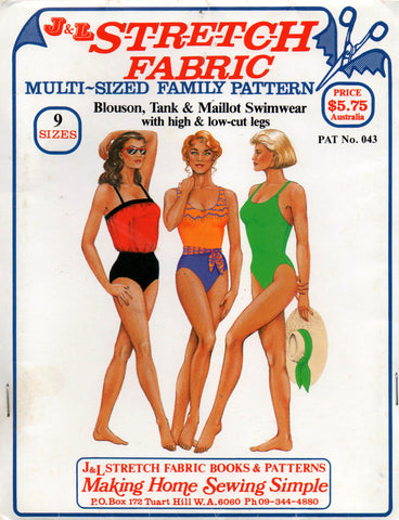 J & L Stretch Fabric Womens One Piece swimsuits 80s Vintage Sewing Pattern Sizes 6 - 22 UNCUT Factory Folded