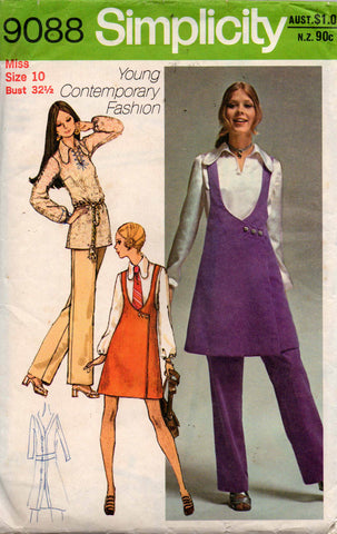 Simplicity 9088 Womens Blouse Mini Jumper & Pants 70s Vintage Sewing Pattern Size 10 Bust 32 1/2 inches