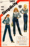 Simplicity 5499 Womens High Waisted Jeans 80s Vintage Sewing Pattern Size 8 10 Waist 24 25 Inches