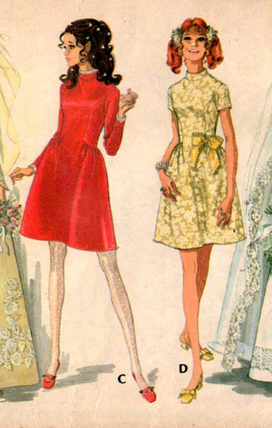 McCall's 9758 Womens Wedding or Bridesmaids Dress with Side Gathered Skirt 1960s Vintage Sewing Pattern Size 12