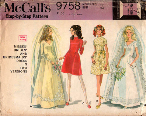 McCall's 9758 60s wedding dress
