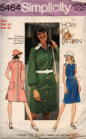 d8a392e1ec2ce Simplicity 5464 Womens Shirtdress   Sun Hat 70s Vintage Sewing Pattern Size  14 Bust 36 inches