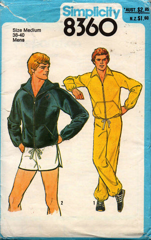 Simplicity 8360 Mens Retro Tracksuit & Shorts Jogging Suit Active Wear 70s Vintage Sewing Pattern MEDIUM Chest 38 -40 inches
