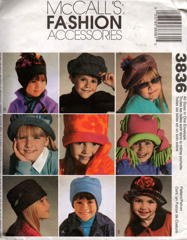Childrens Hats Caps Mittens Pattern McCall's 3836 Sewing Pattern Size 21 22 inch head UNCUT Factory Folded
