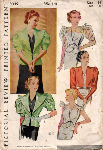Pictorial Review 8319 RARE 1930s Womens Bolero Jacket Vintage Sewing Pattern Bust 32 inches INCOMPLETE VIEW 3 ONLY