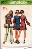 Simplicity 9834 Womens / Teens Boho Mini Dress Smock & Pants 70s Vintage Sewing Pattern Size 11 JP or Size 10