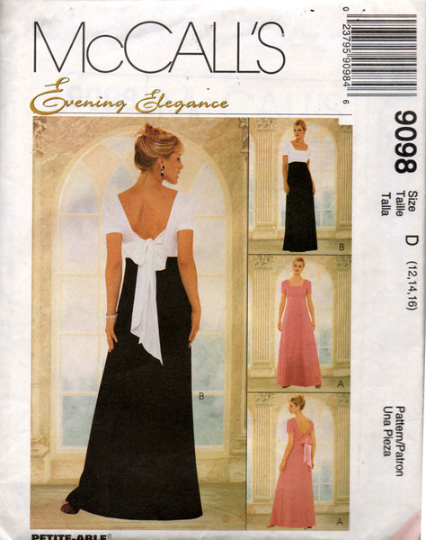 McCall's 9098 Womens Low Back Bow Trimmed Evening Gown 90s Vintage Sewing  Pattern Size 12 14 16 UNCUT Factory Folded