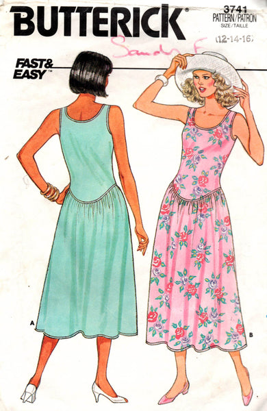 butterick 3741 80s drop waist dress