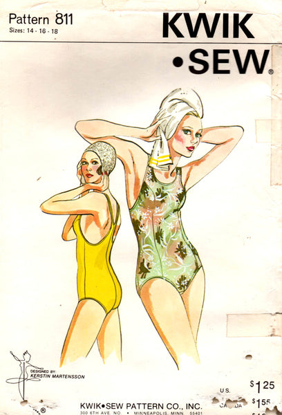 kwik sew 811 racing swimsuit 70s