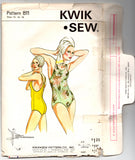 Kwik Sew 811 Womens PLUS SIZE Racing Swimsuit 1970s Vintage Sewing Pattern Size 14 - 18 UNCUT