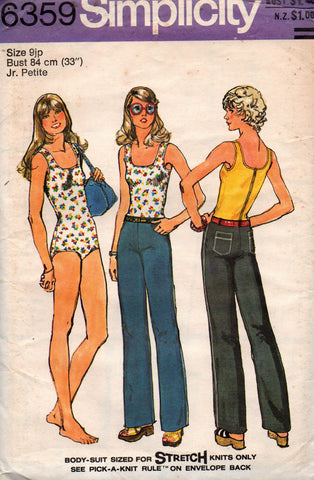 d12f02e912ab6 Simplicity 6359 Womens / Junior Petite Body Suit & Hip Hugger Jeans 70s Vintage  Sewing Pattern Size 9 JP Bust 33 UNCUT Factory Folds