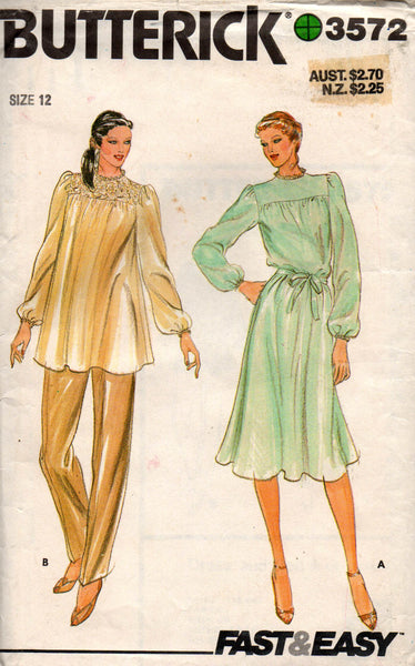 butterick 3572 dress and tunic 80s