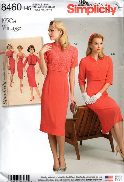 simplicity 8460 50s reissued dress and bolero