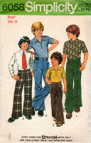 simplicity 6058 teen boys shirt and pants 70s
