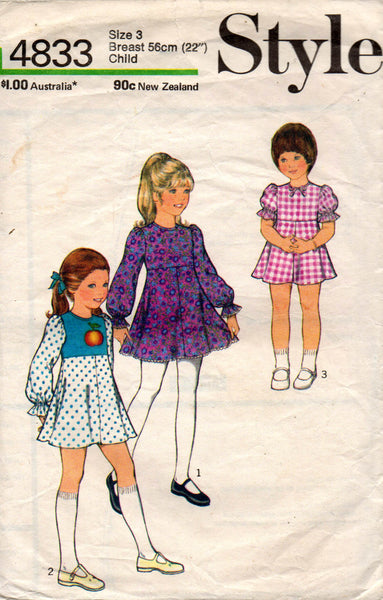 style 4833 toddlers dress 70s