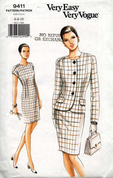 vogue 9411 dress and jacket 90s